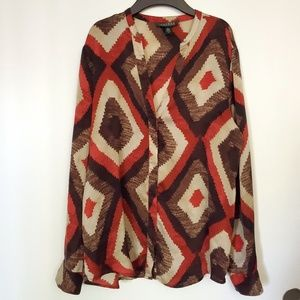 Ralph Lauren multi color silk button down blouse
